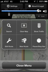 MapQuest Menu
