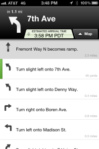 MapQuest Route in List View