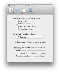 Spring-Loaded folder preferences