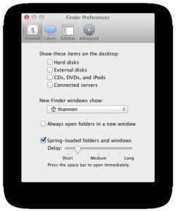 Spring-Loaded folder preferences