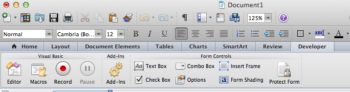 how to create forms in word