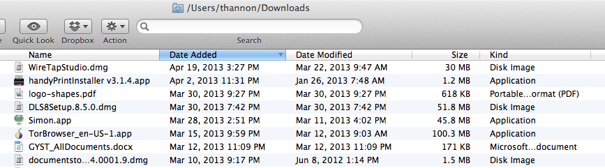 Columns in Downloads Folder