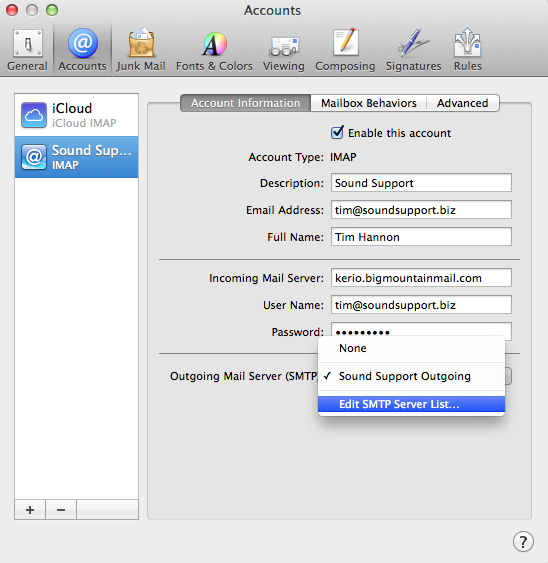 Entering your SMTP Password in Apple Mail - Sound Support