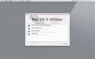 OS X Utilities on Recovery Partiion