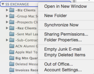 Outlook 2011 Folder Properties