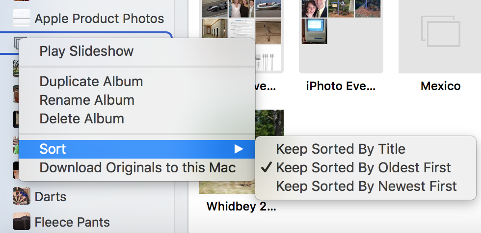 Sort Albums In iPhoto or Photos - Sound Support