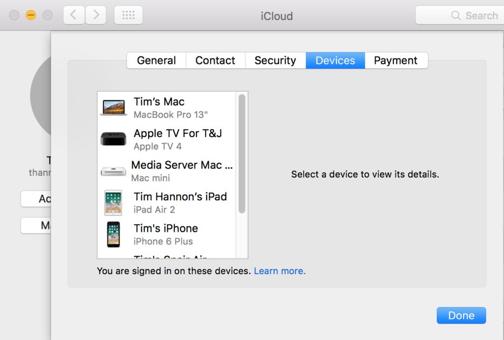 AppleID Device List