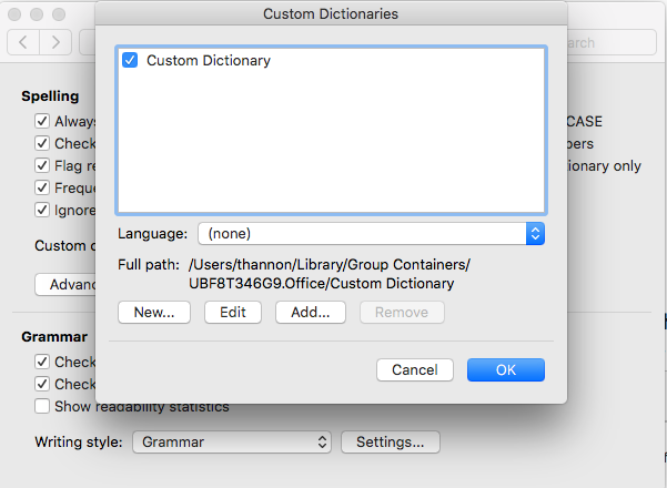 Word Custom Dictionary language