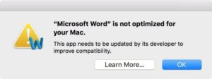 Word 2011 is not optimized