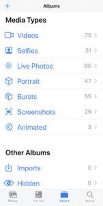 Photos Media Types iOS